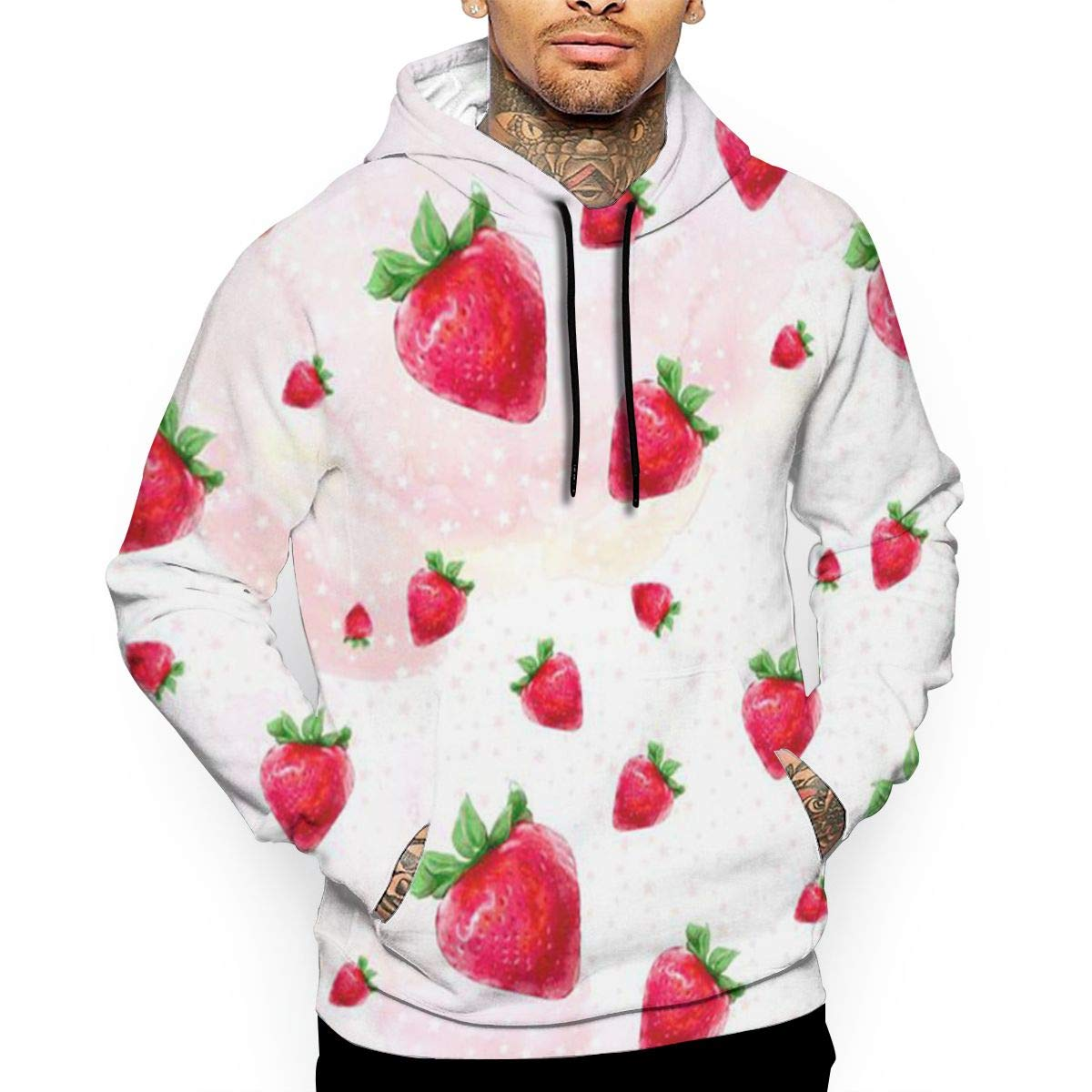 Strawberries T-Shirt Hooded with A Pocket Rope Hat Customization Fashion Novelty 3D Mens