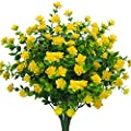 Artificial Flowers Fake Outdoor Uv Resistant Plants Faux Plastic Greenery Shrubs Indoor Outside Hanging Planter Home Kitchen Office Wedding Garden Decor Yellow Pack Of 4