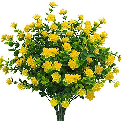 Artificial Flowers, Fake Outdoor UV Resistant Plants Faux Plastic Greenery Shrubs Indoor Outside Hanging Planter Home Kitchen Office Wedding, Garden Decor (Yellow)