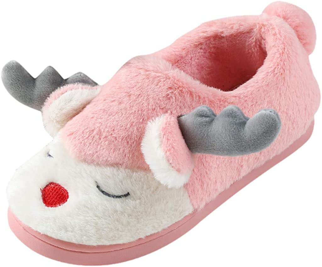 Kids Winter Warm Christmas House Slippers,Jchen Boys Girls Cartoon Elk Plush Lined Indoor Floor Home Slippers for 5-12 Yrs