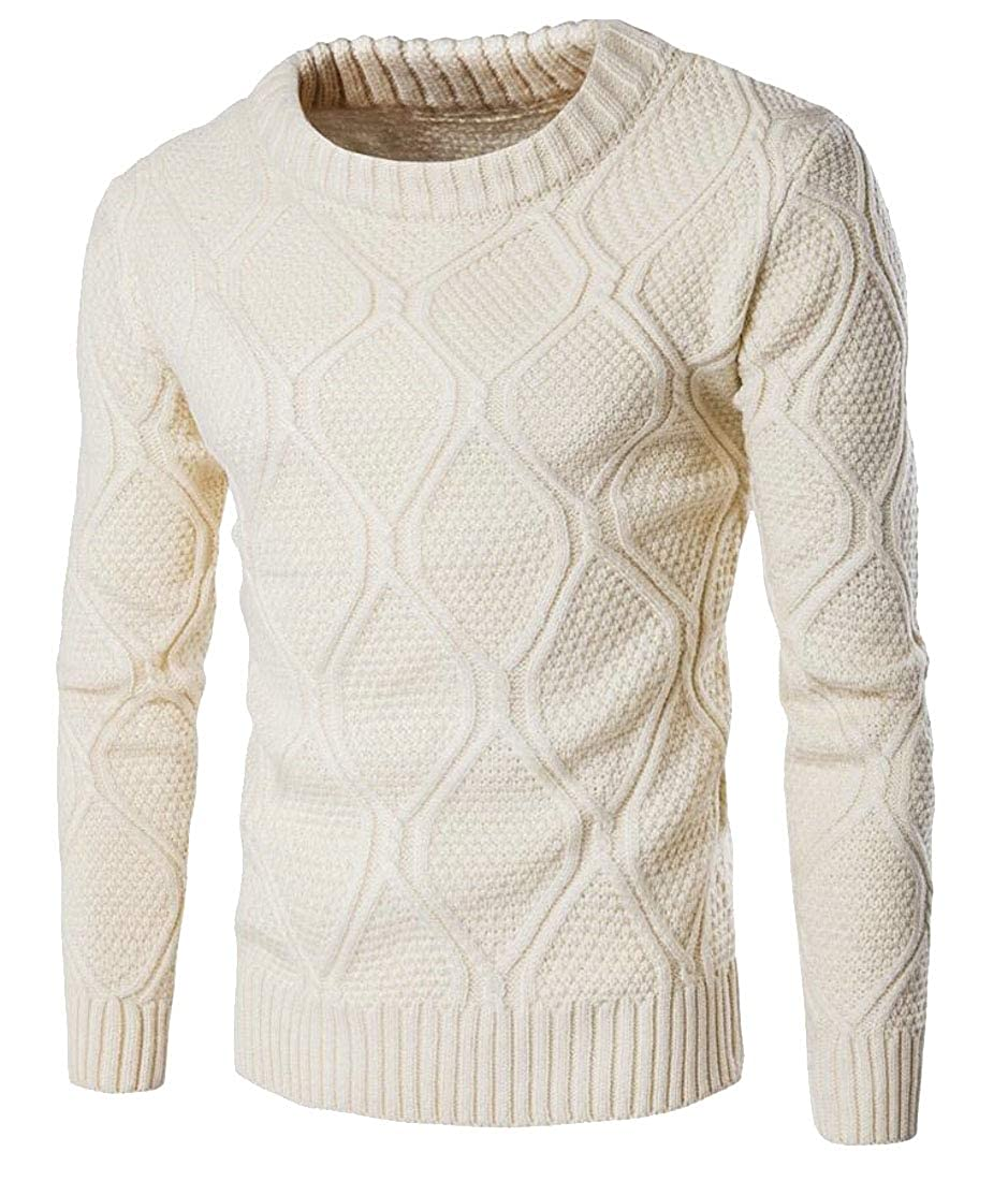 Generic Mens Leisure Crewneck Solid Knitting Slim Fit Knitwear Pullover Sweaters