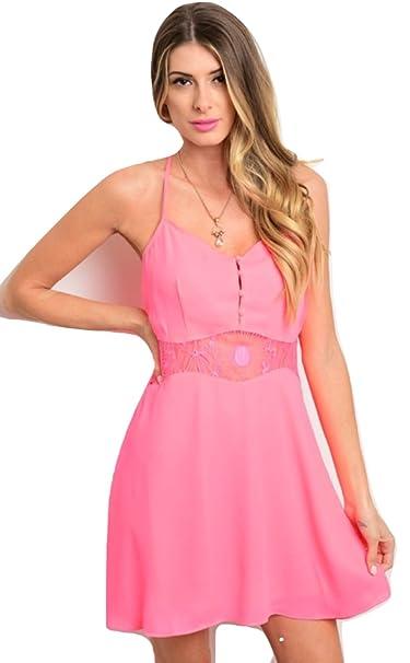Calibabes Hot Pink Lace Mini Dress Small Hot Pink At
