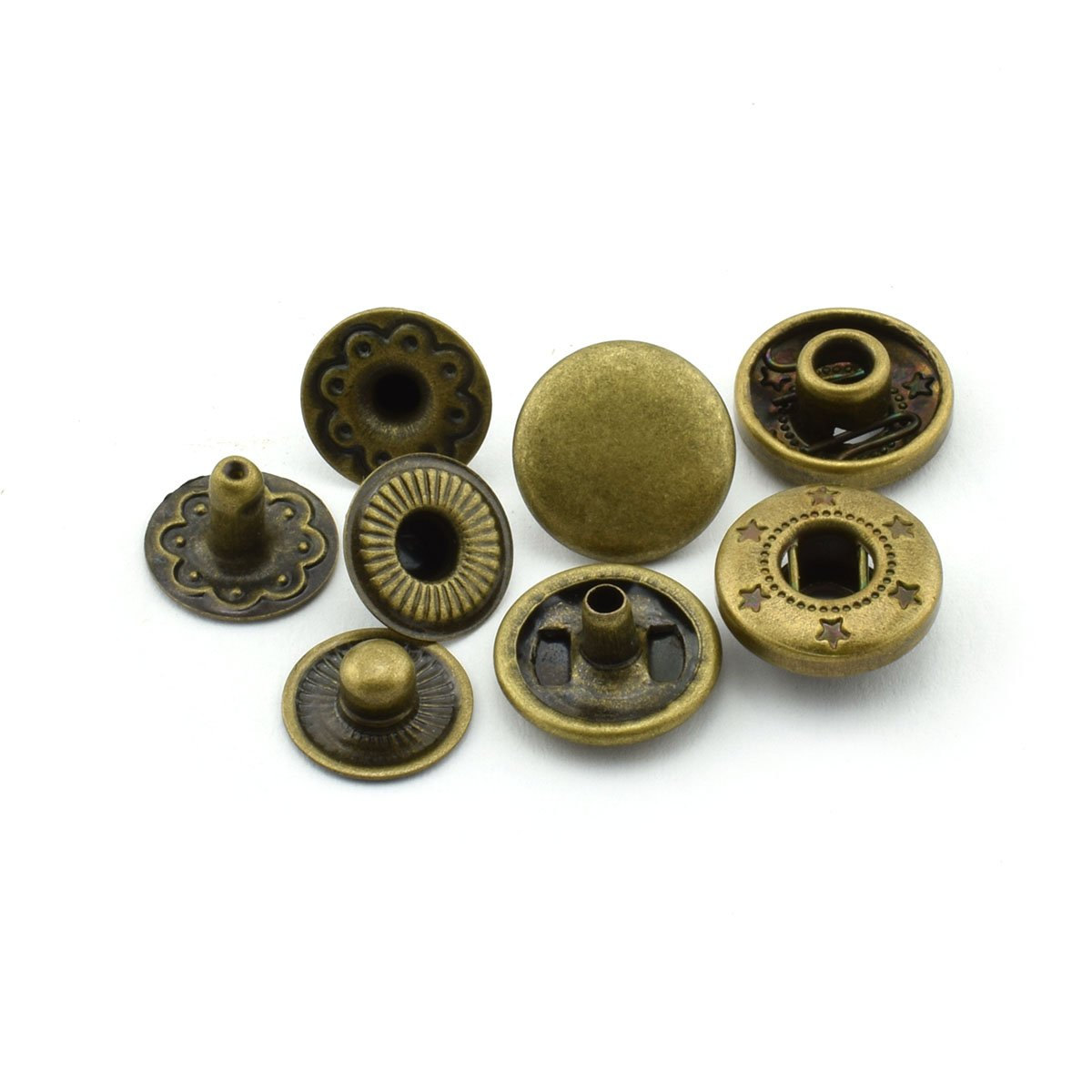 60 Sets 10mm Metal Snap Fasteners Press Stud Rounded Sewing Rivet Buttons Clothing Leather Craft DIY Poppers Black Pro Bamboo Kitchen
