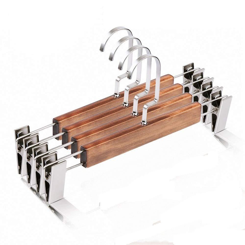 ハンガー メタルクリップ付き10個の木製パンツハンガーのパックグリップクリップパンツハンガー滑らかな仕上げ無垢材ジーンズスカートハンガークリップハンガー多機能ハンガー (Color : Brown, Size : 31.8cm) B07SL22PFR Brown 31.8cm