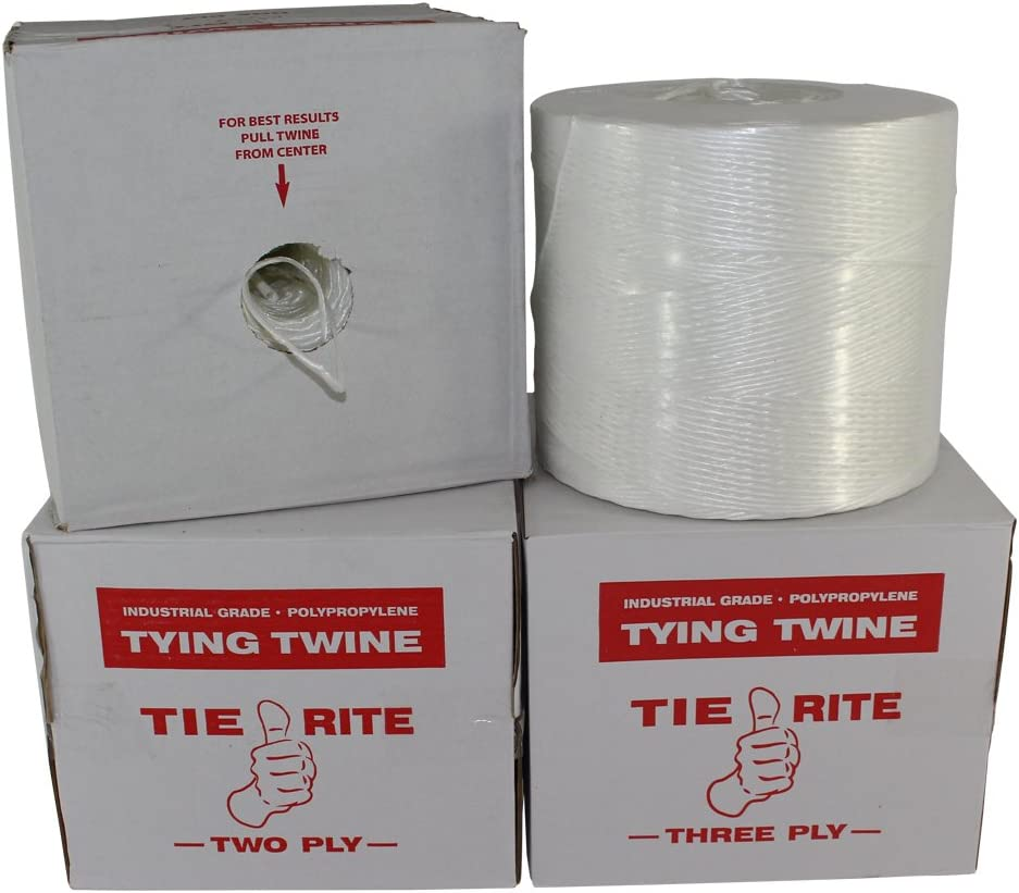 Polypropylene Tying Twine - SGT KNOTS Tie-Rite - 100% High-Grade Polypro Twine - Lightweight Utility Cord - for Crafting Projects, Tie-Down, Commercial Packaging & Bundling (3 ply - 2100 ft, White)