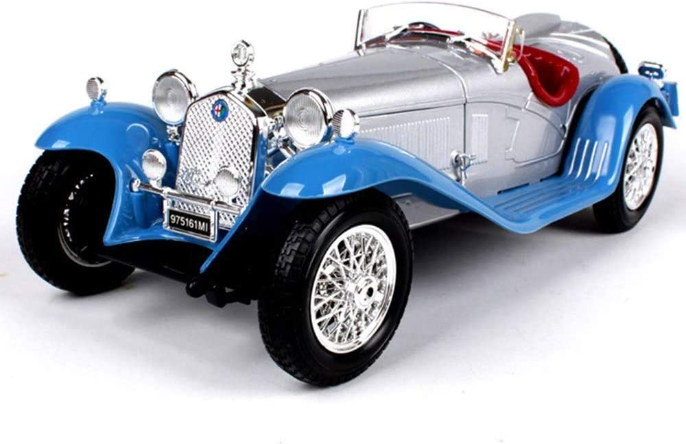 1932 Alfa Romeo 8C Simulation Alloy Classic Car Model, 1:18 Scale, Finished Models, Static Die-Casting Car, Front and Rear Wheels with Shock Absorber Function,Blue