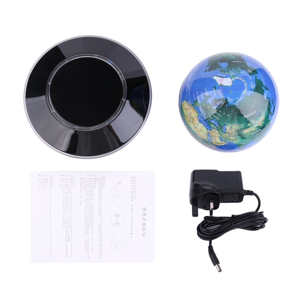 360 Degree World Map.Magnetic Globe Levitation Lamp 360 Degree Rotating Floating World