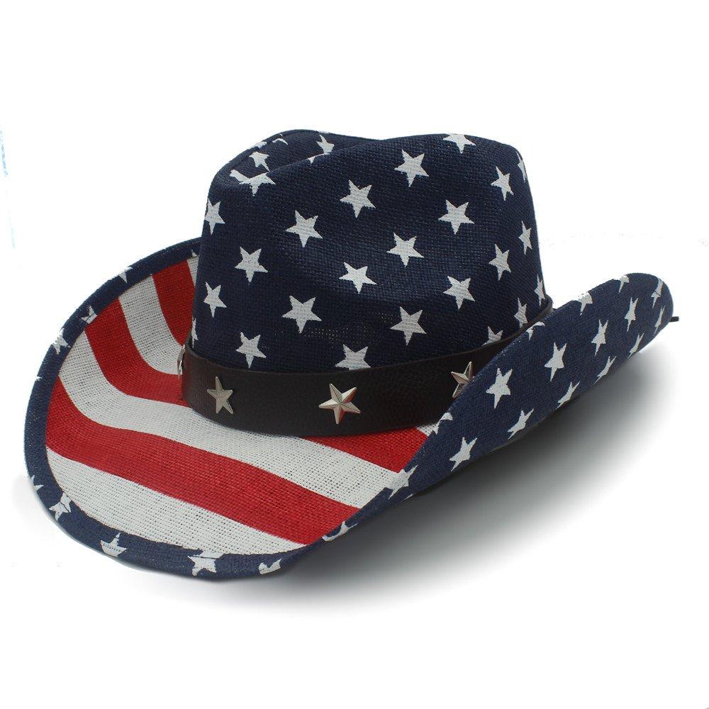 Best Choise Cappello da cowboy occidentale classico da uomo con caviglia Cowgirl Cappello da cowboy americano da donna con cinturino in pelle 22  Bello ( Color : 1 , Size : 58cm )