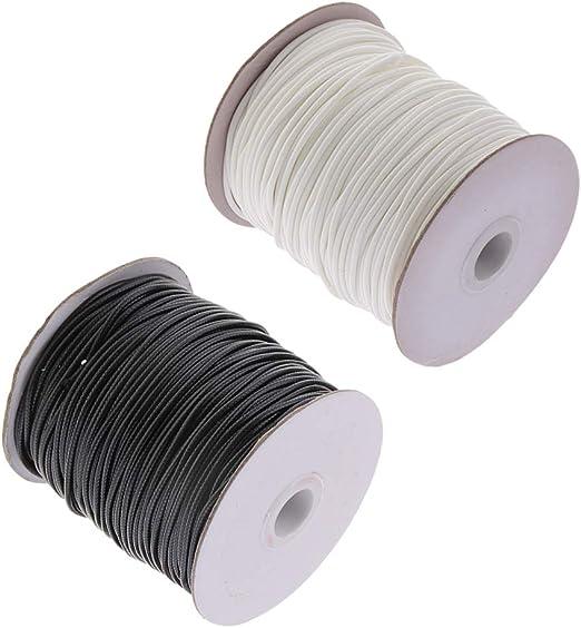 2 Rollos Cable de Algodón Encerado Redondo Delgado Hilo Enhebrado ...