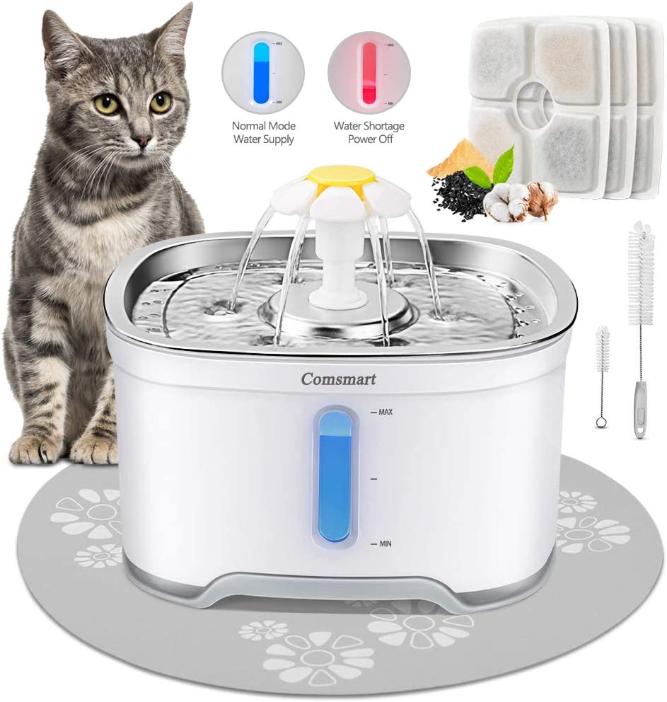 Comsmart Cat Water Fountain, Stainless Steel Intelligent Auto Power Off Pet Fountain Drinking Dog Water Fountain Recirculating 85 oz/2.5L Automatic Drinking Water Dispenser