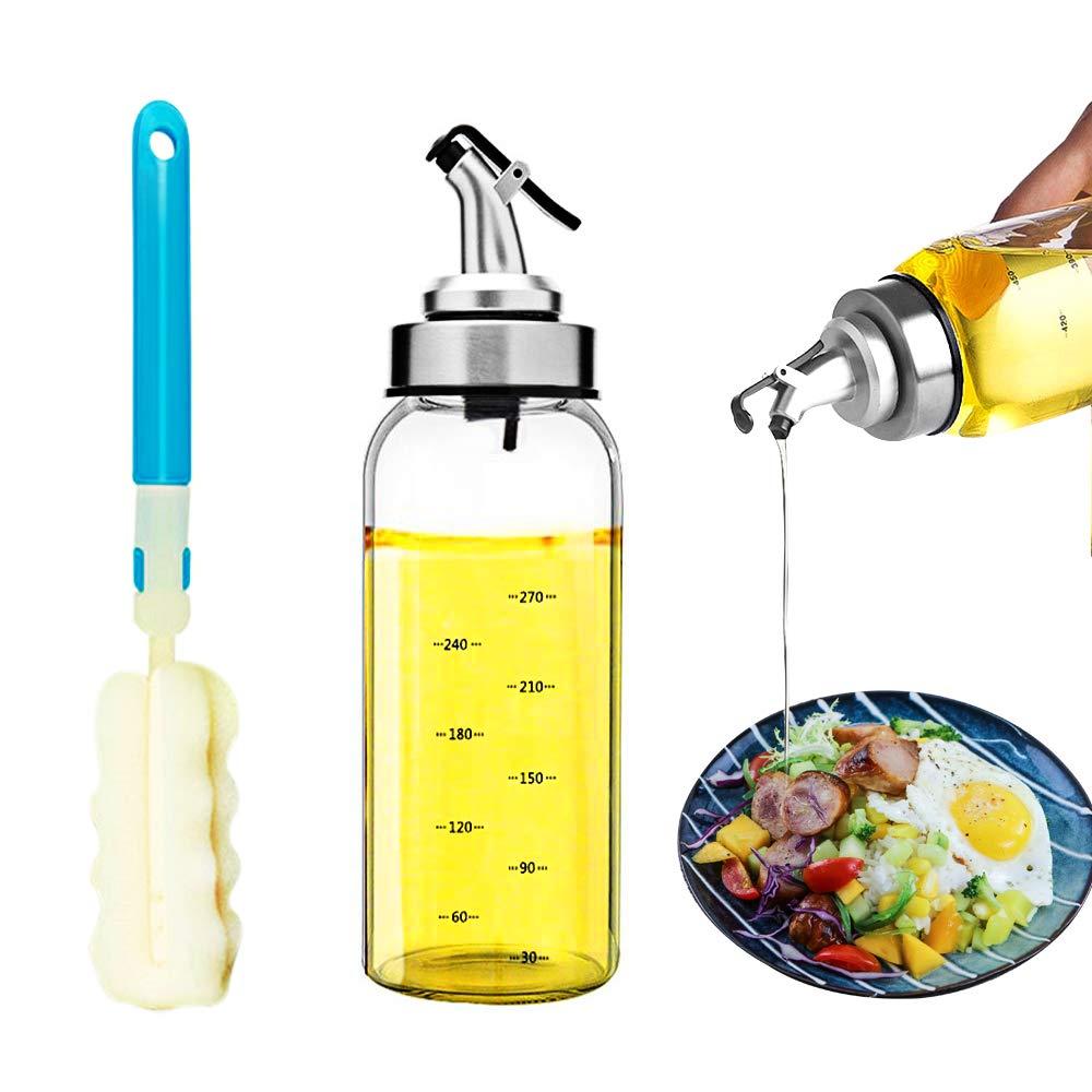 per Olio e aceto Perfetta Tenuta /& Antigoccia Copertura Antipolvere -500ml Scala per La Misurazione BOWFU Bottiglia in Vetro per Olio con Dispenser, Regali:Spazzole