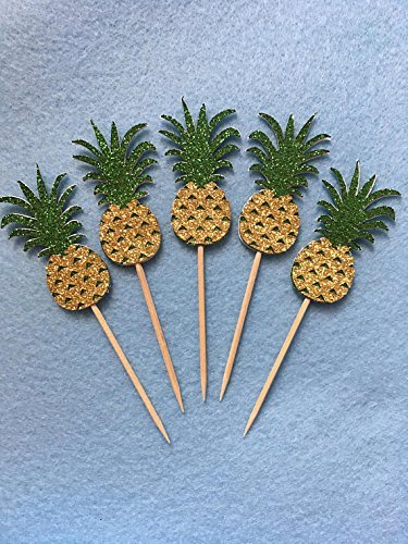 Pineapples Cupcake Toppers, Luau Party Decor, Double Sided Party Toothpics 12 Pack by Little Factory Crafts