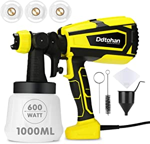 Ddtohan Paint Sprayer, 600W High Power HVLP Home Spray Gun with 1000ml Container, 3 Copper Nozzle Sizes, 3 Spray Patterns for Fence, Cabinet and Furniture, Easy Spraying and Cleaning