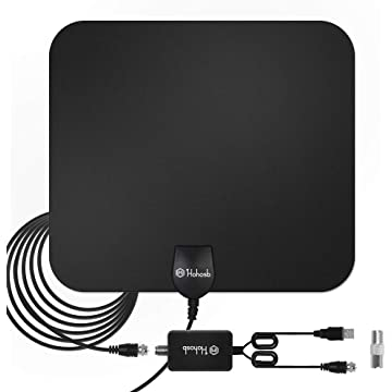 Hohosb TV Antenna for Digital TV Indoor [2019 Upgraded Version],Digital Amplified Indoor HDTV Antenna 60-120 Miles Range with Detachable Amplifier Signal Booster Support 4K 1080P UHF VHF Freeview HDTV