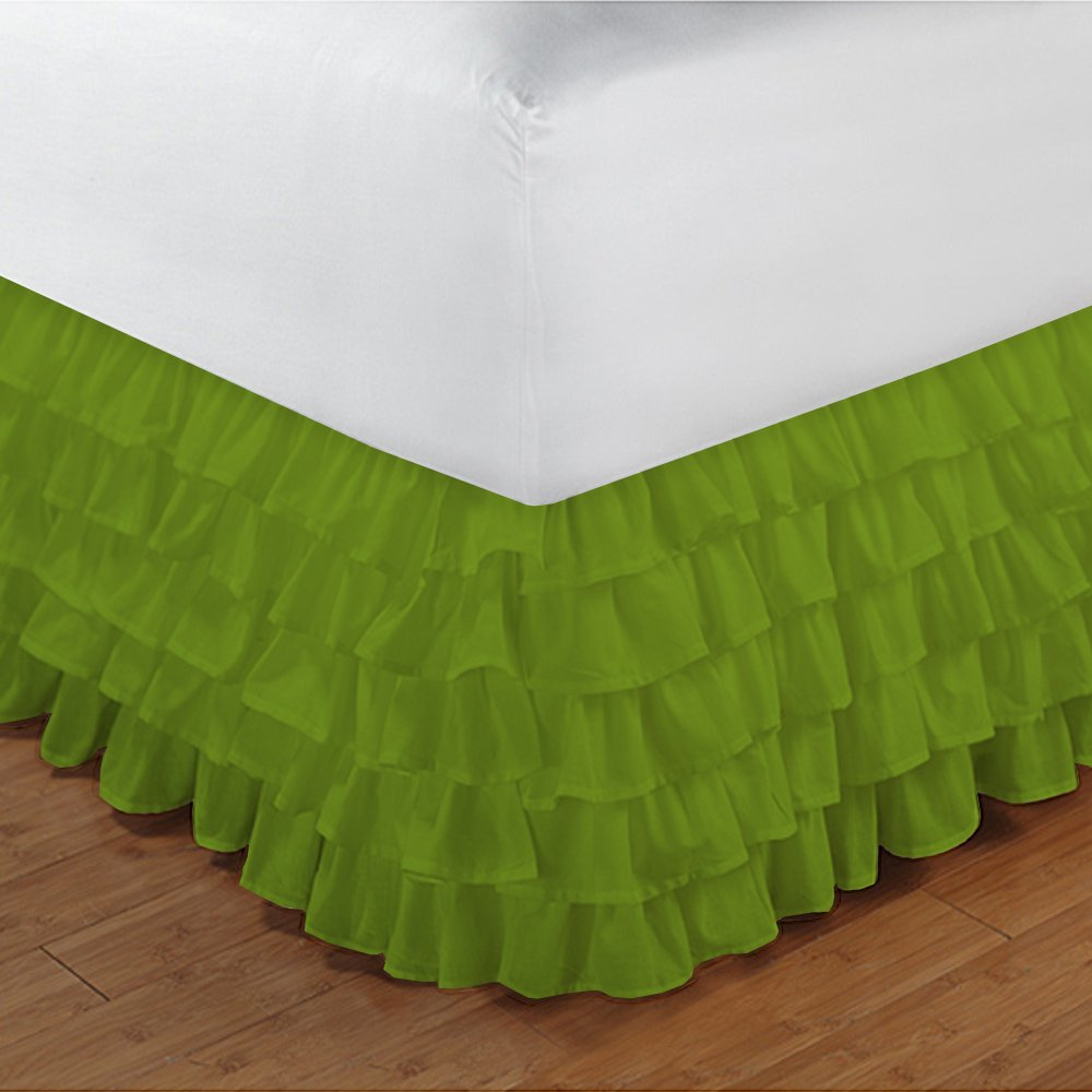 Floris Fashion Twin XL 300TC 100% Egyptian Cotton Parrot Green Solid 1PCs Multi Ruffle Bedskirt Solid (Drop Length: 29 inches) - Tailored Finish Super Comfy Easy Care Fabric