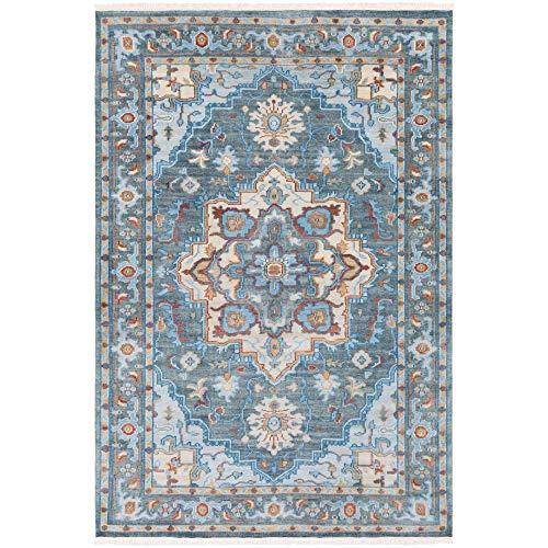 (Tiwari Home 6' x 9' Floral Design Blue and Red Rectangular Area Throw Rug)