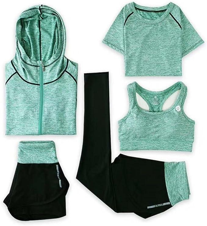 Amazon.com: SHOLIND Traje de yoga, conjunto de 5 piezas de ...