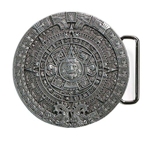 Landisun Western Cowboy Novelty Belt Buckles for Men Women Antique-Pewter Aztec Sunstone