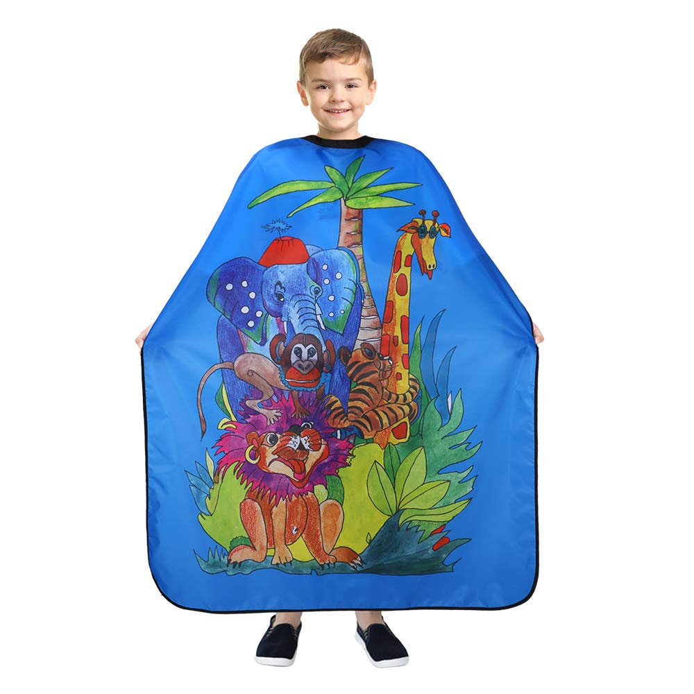BARBER PRO Barber Cape for Kids, Hair Cutting Cape with Snap Closure, Professional Salon Cape, Barber Hairdressing Cape - Waterproof Capes Cloth for Child