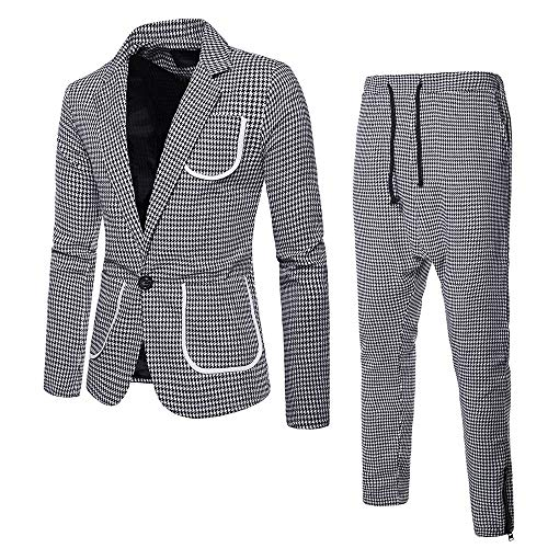 2-Piece Suit Plaid Blazer Jacket for Men's Houndstooth Single Button Suit Coat & Pants for Work Business Wedding Party Gray ()
