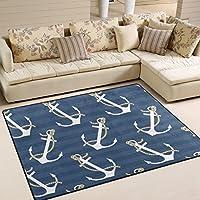 DEYYA Contemporary Anchor Design Non-Slip Area Rug, Cozy Shag Collection Solid Shag Rug Contemporary Living & Bedroom Soft Carpet Rug, 67 L x 48 W