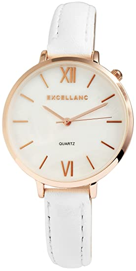 Reloj mujer nácar Oro Blanco Números Romanos analógico cuero reloj de pulsera