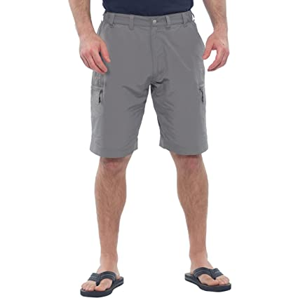2948b0b817 Mens Moisture Wicking Quick Dry Fabric Breathable Lightweight Cargo Shorts  - Small,Khaki Gray