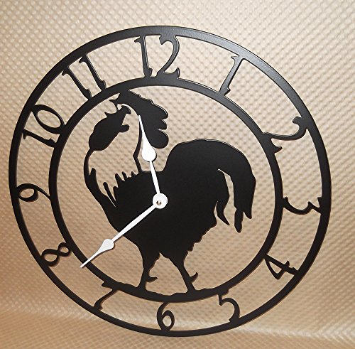 Rooster Wall Clock. Handmade in USA. Solid Steel. 15 Inch Wide. Quartz Movement. Flat Black Color.
