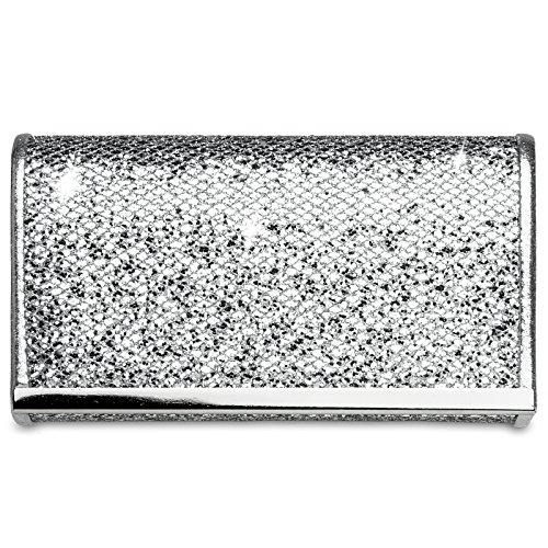 Caspar Elegante clutch Metálico Para Plata Ta344 Mujer De Detalle Fiesta Mano Brillo Con Bolso X4FxwX8qfr
