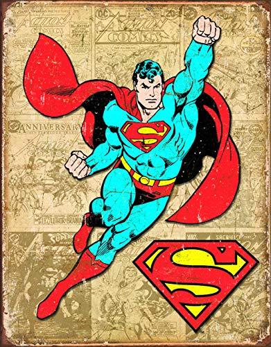 (Desperate Enterprises Superman Weathered Panels Tin Sign, 12.5