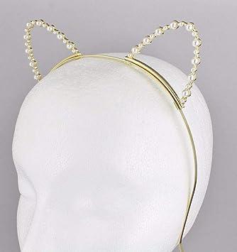 Amazon.com: Diadema de perlas de imitación doradas para ...