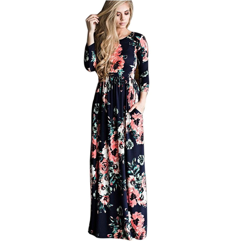 Tonsee Damen Floral Print Langarm Boho Kleid Abendkleid Party lange ...