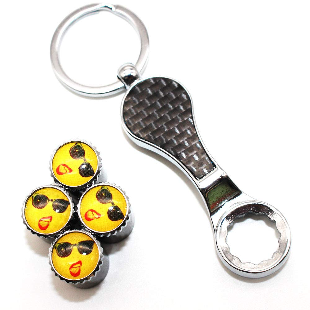 DSYCAR 1 Set Anti-theft Valve Caps Universal Car Dust Caps Valve Stem Cover Wrench Keychain for Car//Motorcycle//Bike