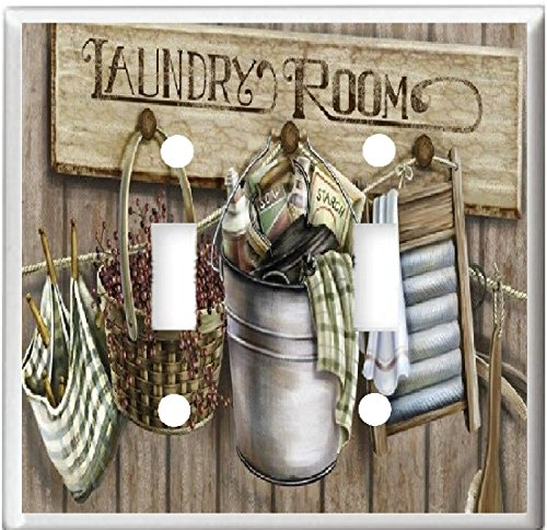 Laundry Switch - LAUNDRY ROOM WASH BOARD CLOTHES PINS BASKET HOME DECOR LIGHT SWITCH COVER PLATE OR OUTLET (2X TOGGLE)