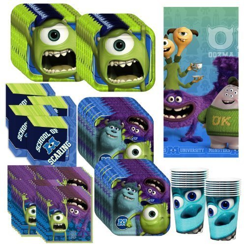 Disney's Monsters University Deluxe Party Supplies Pack Including Plates, Cups, Napkins and Tablecover - 16 Guests by Hallmark