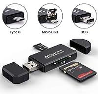 YOMYM USB 2.0 Lector de Tarjetas SD, USB Type C SD/Lector de Tarjetas Micro SD Adaptador OTG para SDXC, SDHC, SD, MMC, RS-MMC, Micro SDXC, Micro SD, Micro SDHC y UHS-I, Negro