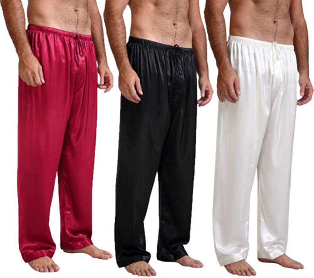Mens Satin Long Pajamas Pants Classic Solid Color Silk Sleep Bottoms Loose Nightwear Trosuers with Drawstring