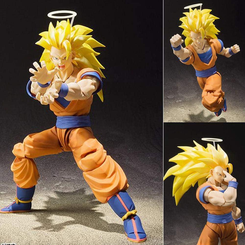 Action Figure Dragon Ball Giallo Son Goku Super Saiyan Capelli Terza Generazione Animato Carattere di Modello Decorazione Statuaria Car 16cm