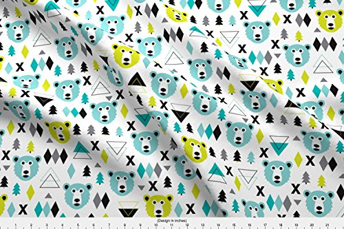 Spoonflower Winter Fabric Geometric Winter Polar Bear And Scandinavian Pine Tree Christmas Kids Fabric by Littlesmilemakers Printed on Lightweight Cotton Twill Fabric by the Yard