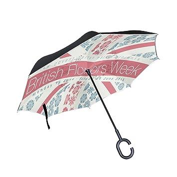 BENNIGIRY Paraguas reversible plegable con bandera británica de doble capa invertida con protección UV resistente al