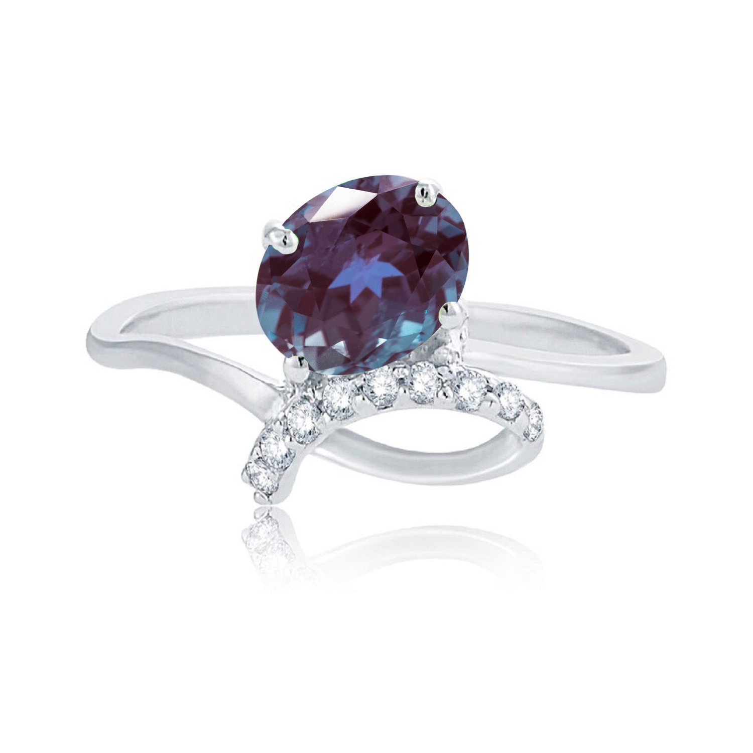 Sterling Silver with Color Changing Alexandrite and Natural White Topaz Promise Ring V3 Designs R95-45221L-BLX-$P