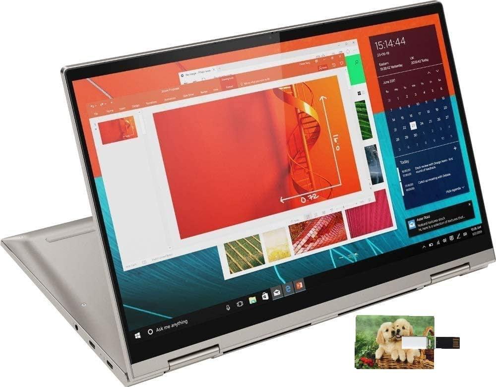 "2020 Newest Lenovo Yoga C740 Premium 2 in 1 Laptop 14"" FHD IPS Touchscreen Intel Quad-Core i5-10210U 8GB DDR4 512GB PCIe SSD Backlit FP Alexa WiFi Win 10 | 32GB Tela USB Card"