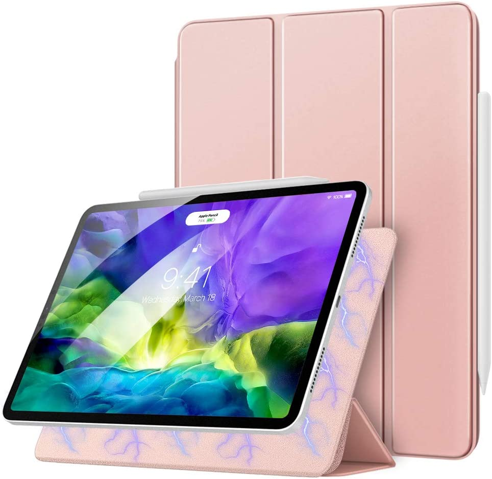 MoKo Magnetic Smart Folio Case Compatible with iPad Pro 11 2nd Gen 2020 & 2018 [Support Apple Pencil 2 Charging] Slim Lightweight Shell Stand Cover, Auto Wake/Sleep - Rose Gold