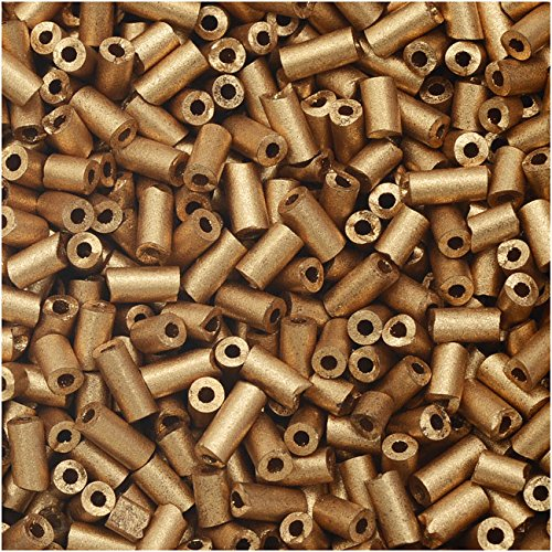 Czech Glass Bugle Beads, Cylinder Size #2 '4.5mm', 24 Gram Tube, Matte Gold (Glass Cylinder Bead)