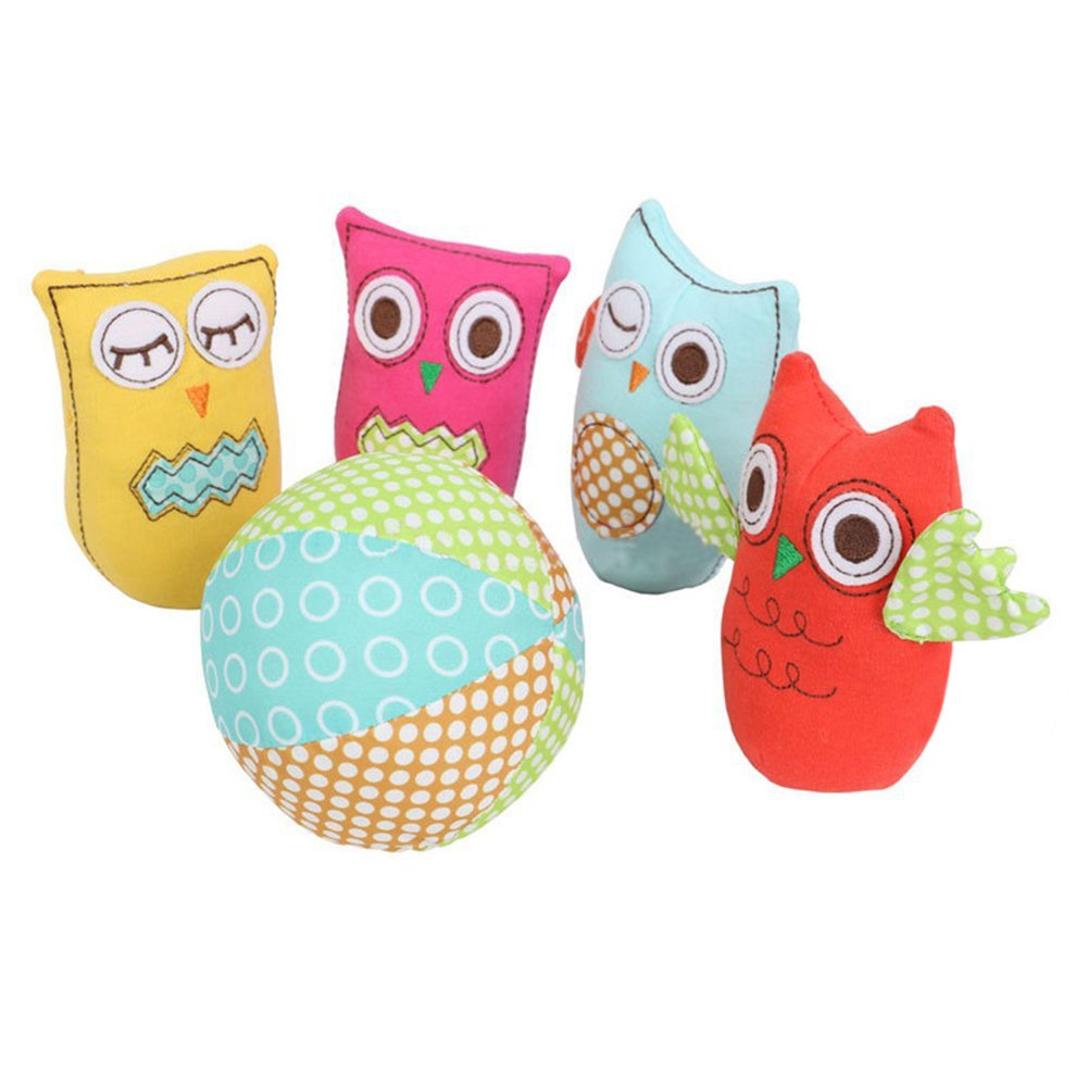 labebe Bowling Game Sets/Toys for Baby Boys and Girls, Toddlers Kids Plush Stuff Toys, Skill Development Learning and Educational Grasp Training Toy - Owl