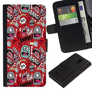 KingStore / Leather Etui en cuir / Samsung Galaxy S5 Mini, SM-G800 / Wallpaper Mono Ojo colorido Aliens mano del cráneo