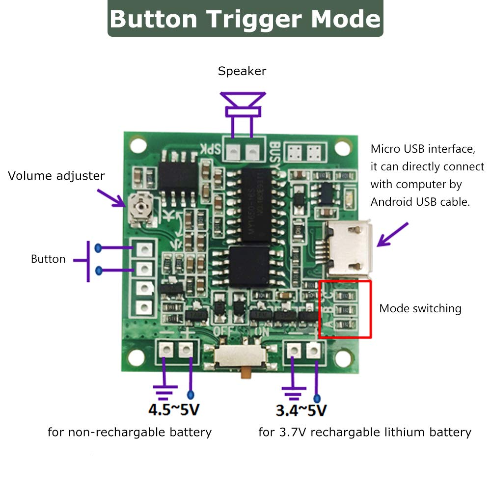 Accessories & Parts Audio & Video Replacement Parts Reliable Usb Download Push Button Audio Playback Mp3 Sound Module Voice Circuit With Speaker And Lithium Battery For Toys Greeting Cards Low Price