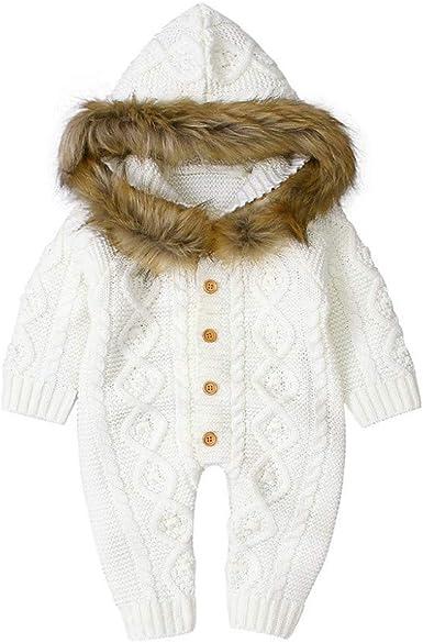 Sombrero reci/én Nacido beb/é Conjunto de Pijama de Manga Larga para Bebe ni/ño ni/ña Ropa casera Peleles para Dormir Mameluco de Punto