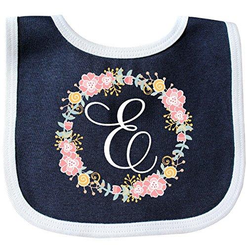 Inktastic - E Monogram Alphabet Letter Rose Floral Baby Bib Navy/White 309b2 (Initial Bib Baby)