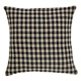 VHC Brands Classic Country Primitive Pillows & Throws - Check Fabric 16'' x 16'' Pillow, Black